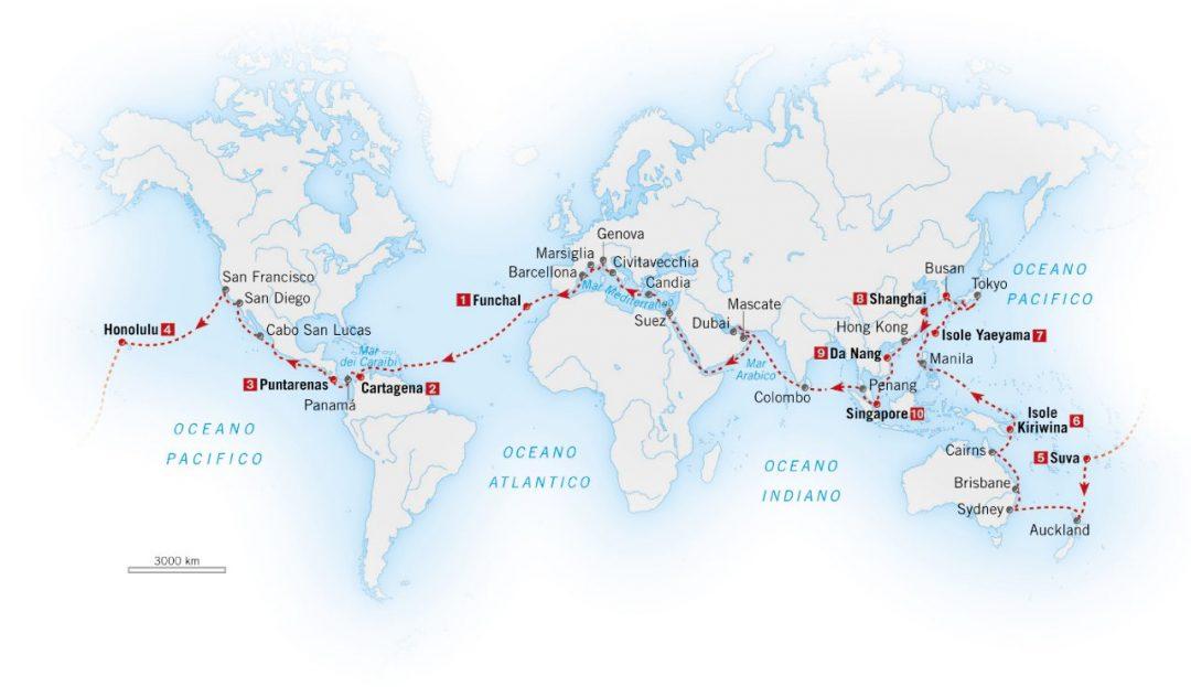 Giro del mondo in crociera in quattro mesi e 53 tappe. Più slow di così…