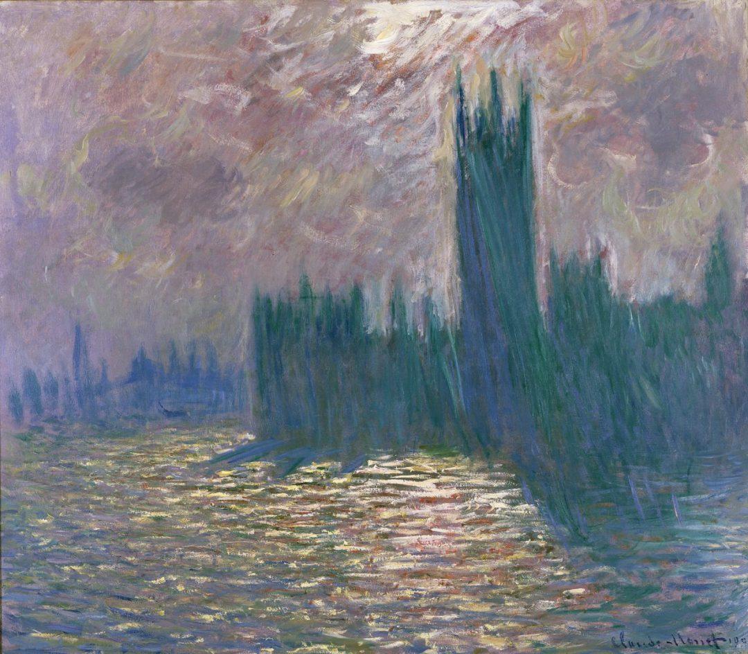 Londra. Il Parlamento. Riflessi sul Tamigi (1905)