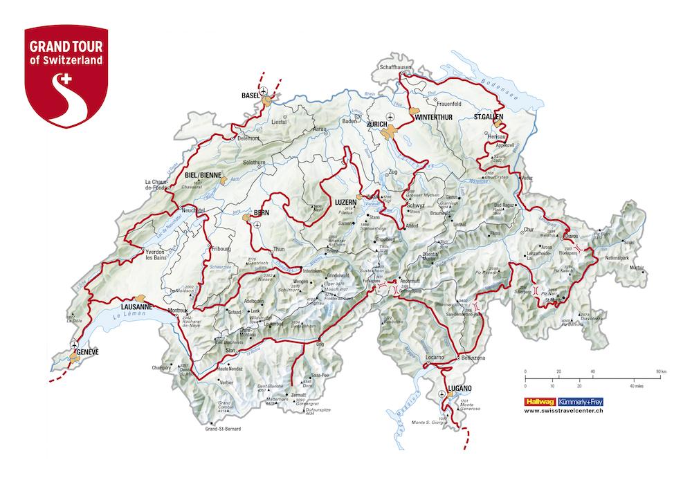 Mappa completa Grand Tour of Switzerland